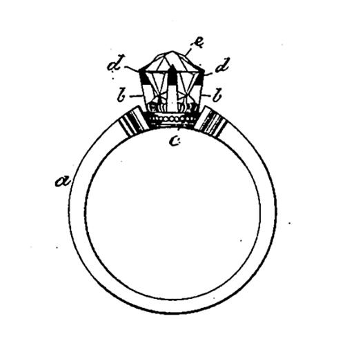 1. Drawing of a diamond solitaire ring from an 1870s US patent.