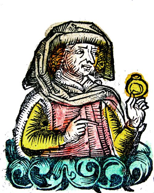 3. Ovid holding a ring, from the Nuremberg Chronicle