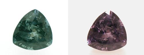 Chrysoberyl Alexandrite demonstrating colour change. Image from Gem-A archive.