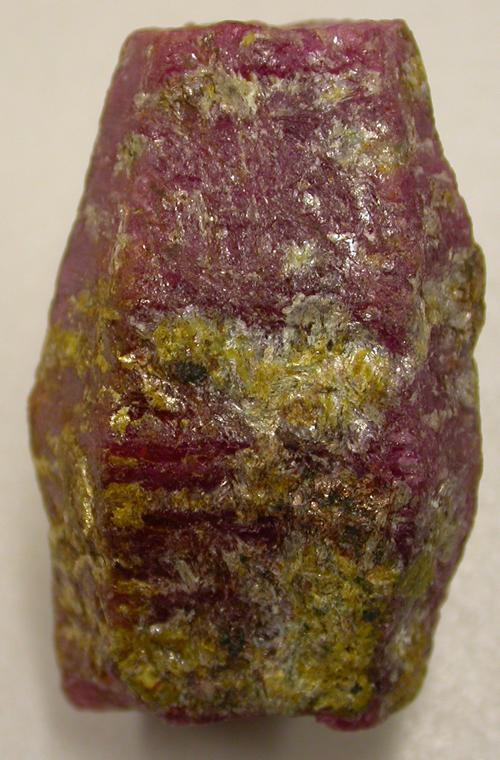 Barrel shaped ruby crystal. Image courtesy of Pat Daly.
