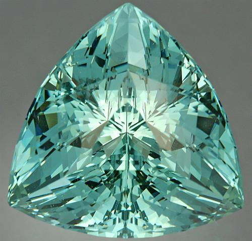 A 46.81 ct Aquamarine Super Trillion TM. Photo by John Dyer.