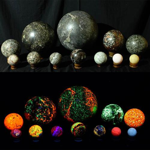 Magic Spheres in daylight above, Magic Spheres in long wave UV light. Image Courtesy of Crystal Cave Museum. IJT