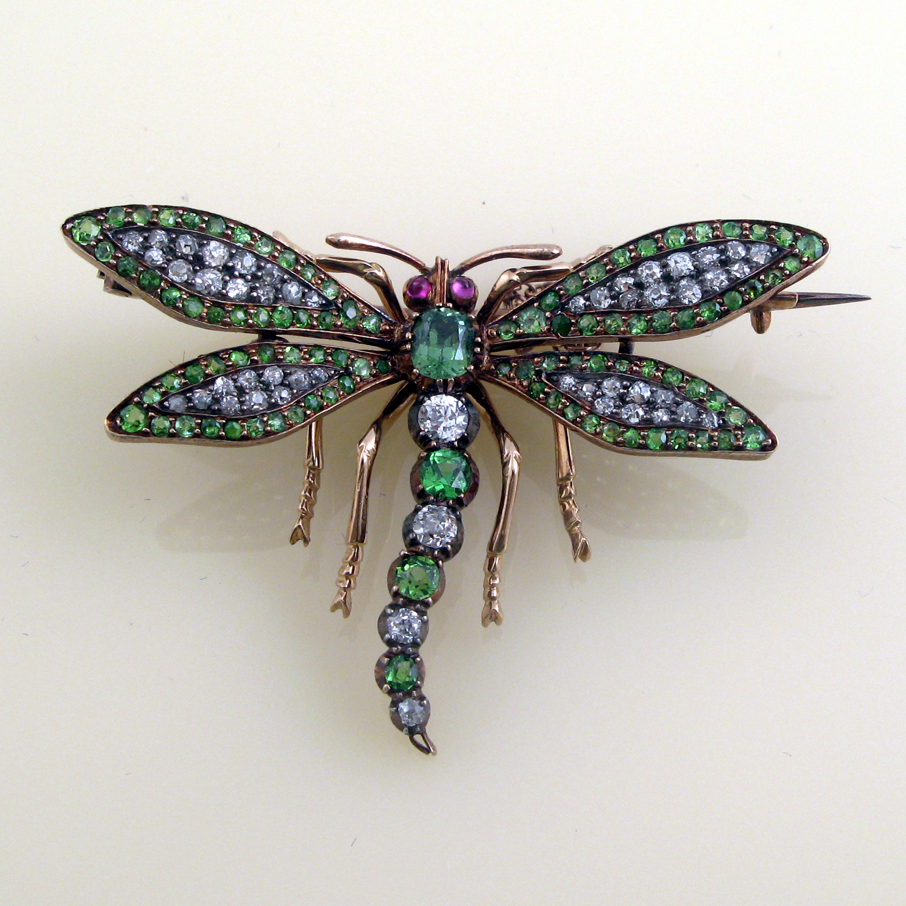 Demantoid diamond dragonfly brooch