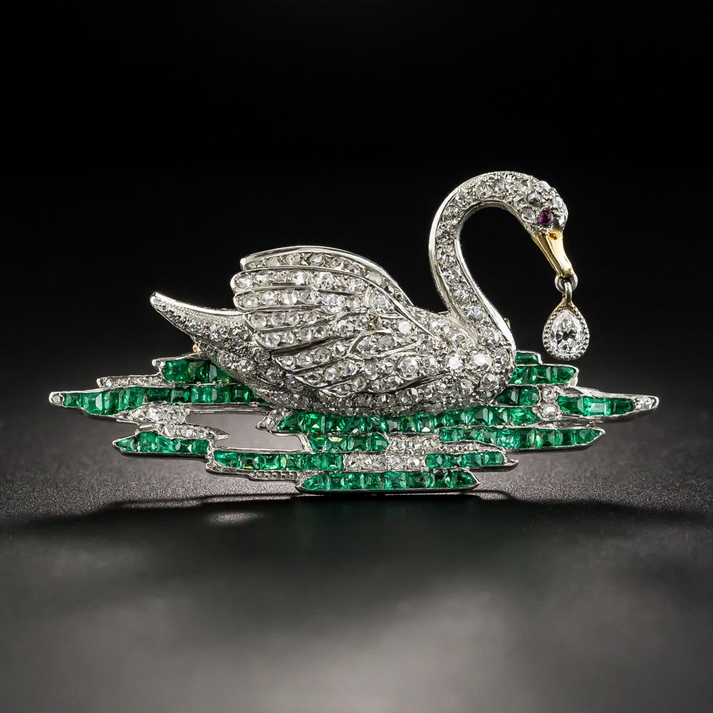 Gem A GemsJewellery Magazine Starla Turner Edwardian Jewellery An Edwardian Swan Pin Image Courtesy of Lang Antiques