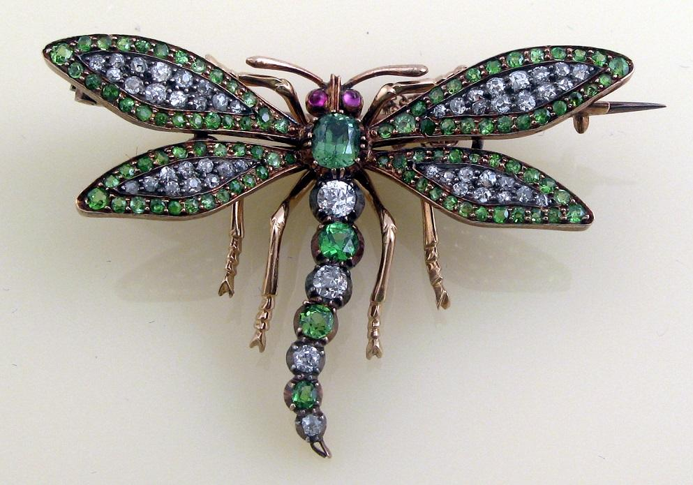 GemsJewellery Magazine Gem A demantoid garnet and diamond dragonfly brooch circa 1880JPG
