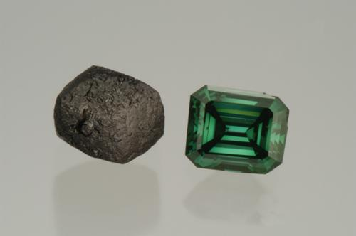 Green diamond: the original rough on the left and the finished stone emerald cut on the right. Copyright Aurora Gems Inc. Image courtesy of Robert Weldon.