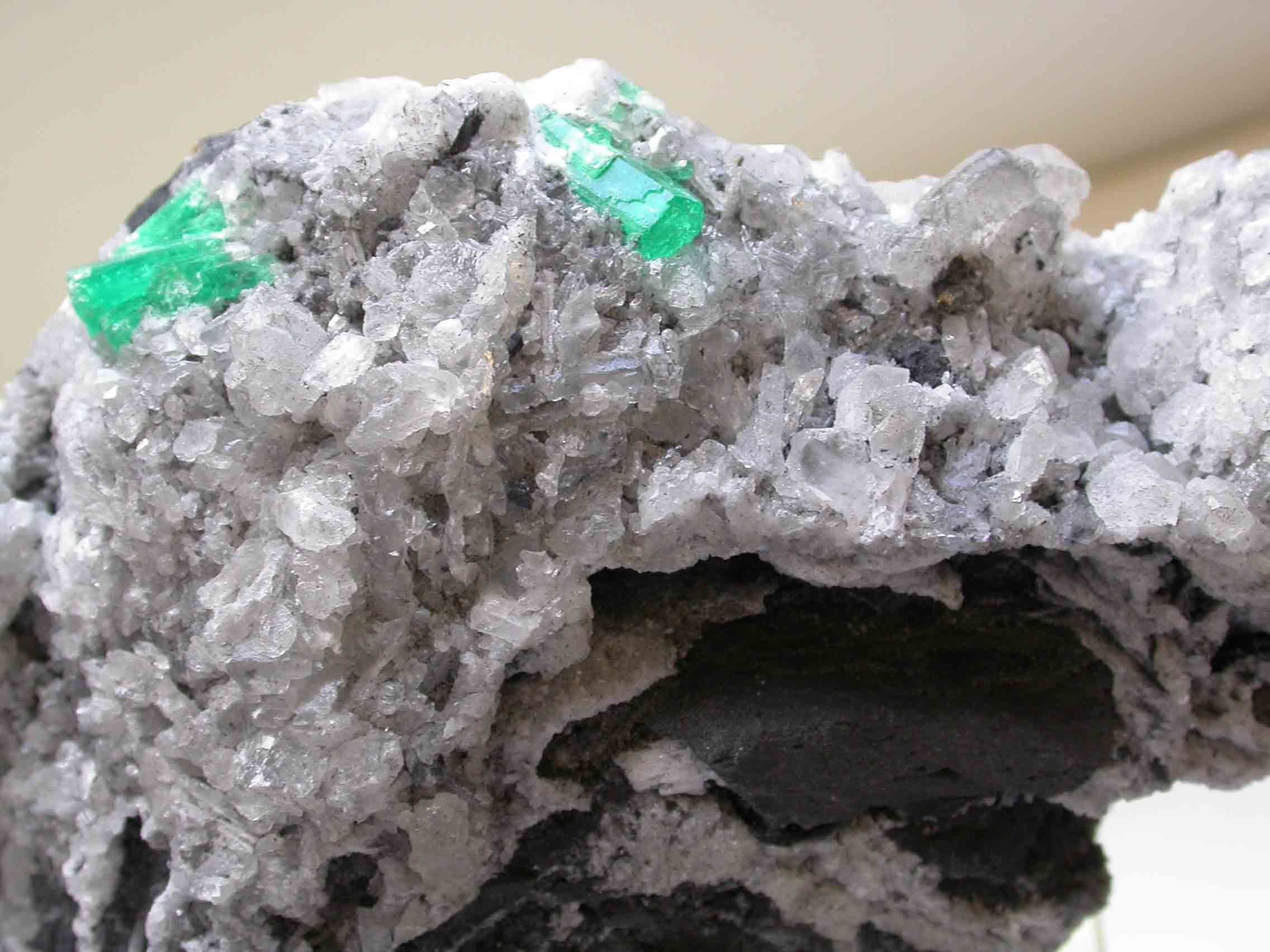Beryl Emerald Crystal in Calcite Matrix and Carbonaceous 9767 GemA PD