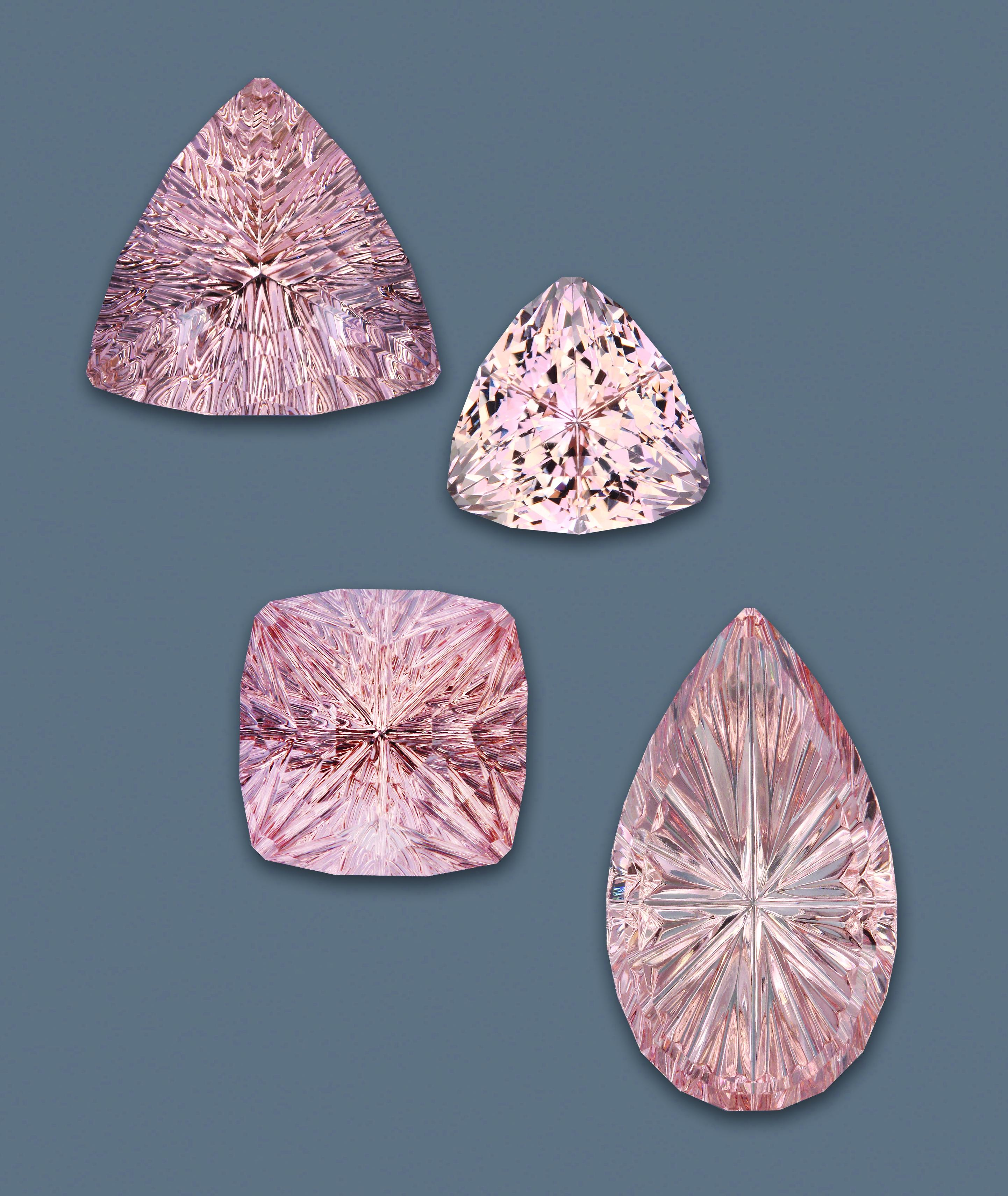 This suite of morganite (16.69–22.22 ct) was cut from Brazilian rough
