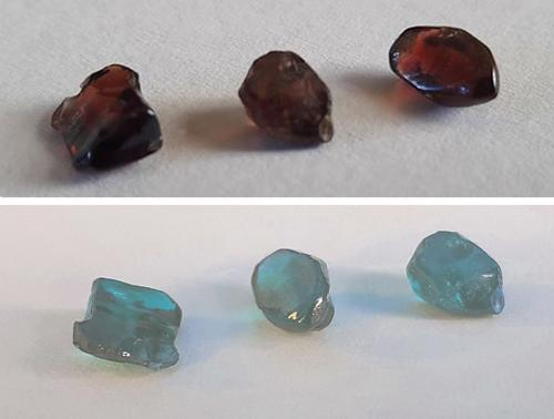 Reddish brown Vietnamese zircon is shown before (top) and after (bottom) heat treatment. Image courtesy of L. T. T. Huong. Journal digest